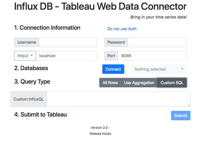 InfluxDB_WDC | A Tableau Web Data Connector (WDC) to pull